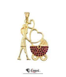 آویز طلای مادر با کالاسکه 18 عیار زنانه 3412-GP