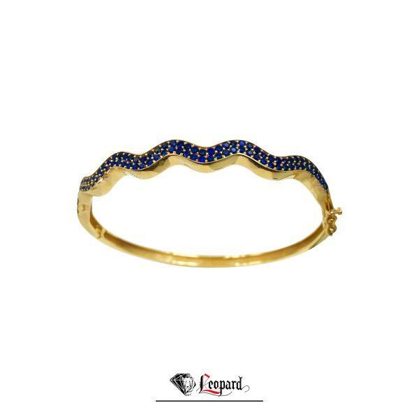 دستبند طلای 18 عیار النگویی موج 3588-GB