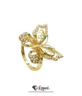 انگشتر طلای 18 عیار زنانه پروانه 4119-GR