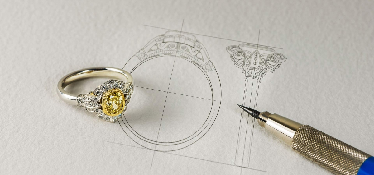 طراحی جواهرات با دست و کلاسیک طلا و جواهر