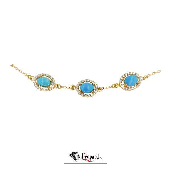 دستبند طلا فیروزه 18 عیار زنانه 3566-GB